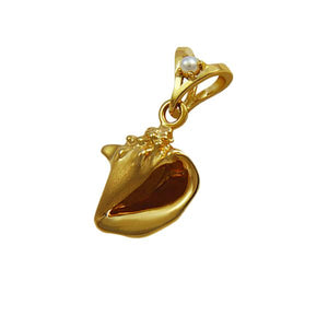 "06 June ""Birthshell"": 14K Yellow Gold Pendant: The Conch Shell with Pearl"