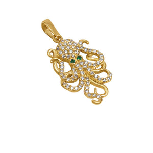 "14k Yellow Gold ""Sea Jewels"" Diamond Pavé Octopus with Emerald Eyes Pendant, D=.38tw"