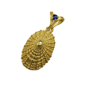 "09 September ""Birthshell"": 14K Yellow Gold Pendant: The Limpet Shell with Sapphire"