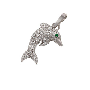 "14k White Gold ""Sea Jewels"" Diamond Pave Dolphin with Emerald Eye Pendant, D=.46tw"