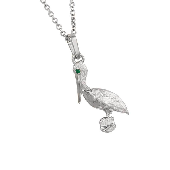 14k White Gold Pelican with Emerald Eye Pendant