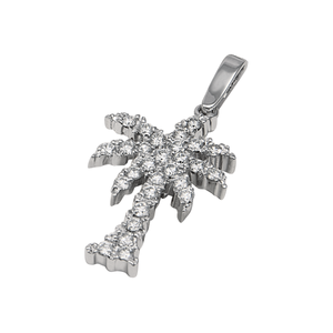 "14k White Gold ""Sea Jewels"" Diamond Palm Tree Pendant, D=.56tw"