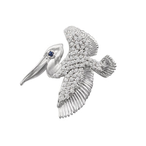"14k White Gold ""Sea Jewels"" Small Full Body Pave Diam Flying Pelican with Emerald Eye Pendant, 66D=.42tw"