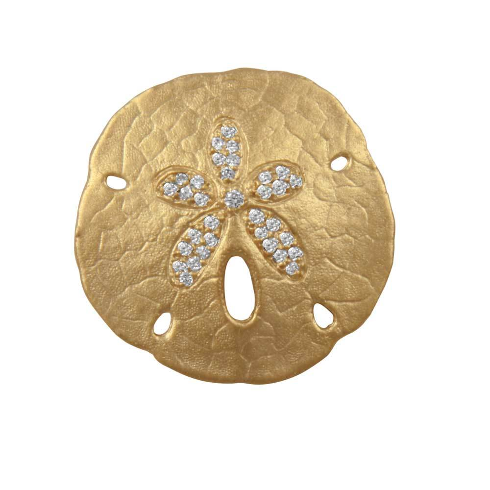14k Yellow Gold 27mm Pave Diamond Sanddollar Pendant, 33D=.26tw