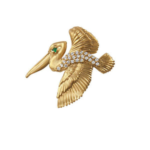 "14k Yellow Gold ""Sea Jewels"" Small Pave Diamond Flying Pelican with Emerald Eye Pendant, 25D=.16tw"