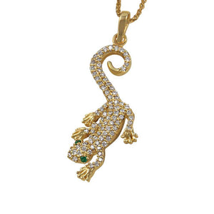 "14k Yellow Gold ""Sea Jewels"" Pave Diamond Gecko with Emerald Eyes Pendant, D=.52tw"