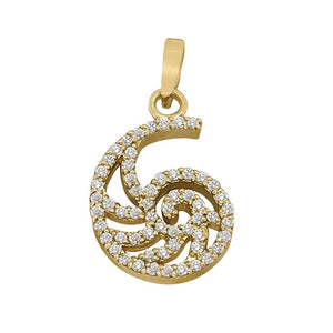 "14k Yellow Gold ""Sea Jewels"" Diamond Pave Nautilus Pendant, 59D=.38tw"