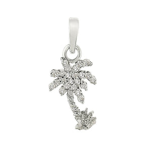 "14k White Gold ""Sea Jewels"" Palm Tree with Diamond Pave Frawns Pendant, 23D=.15tw"