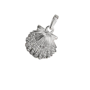 "14k White Gold ""Sea Jewels"" Diamond Pave Medium Scallop Pendant, 36D=.24tw"