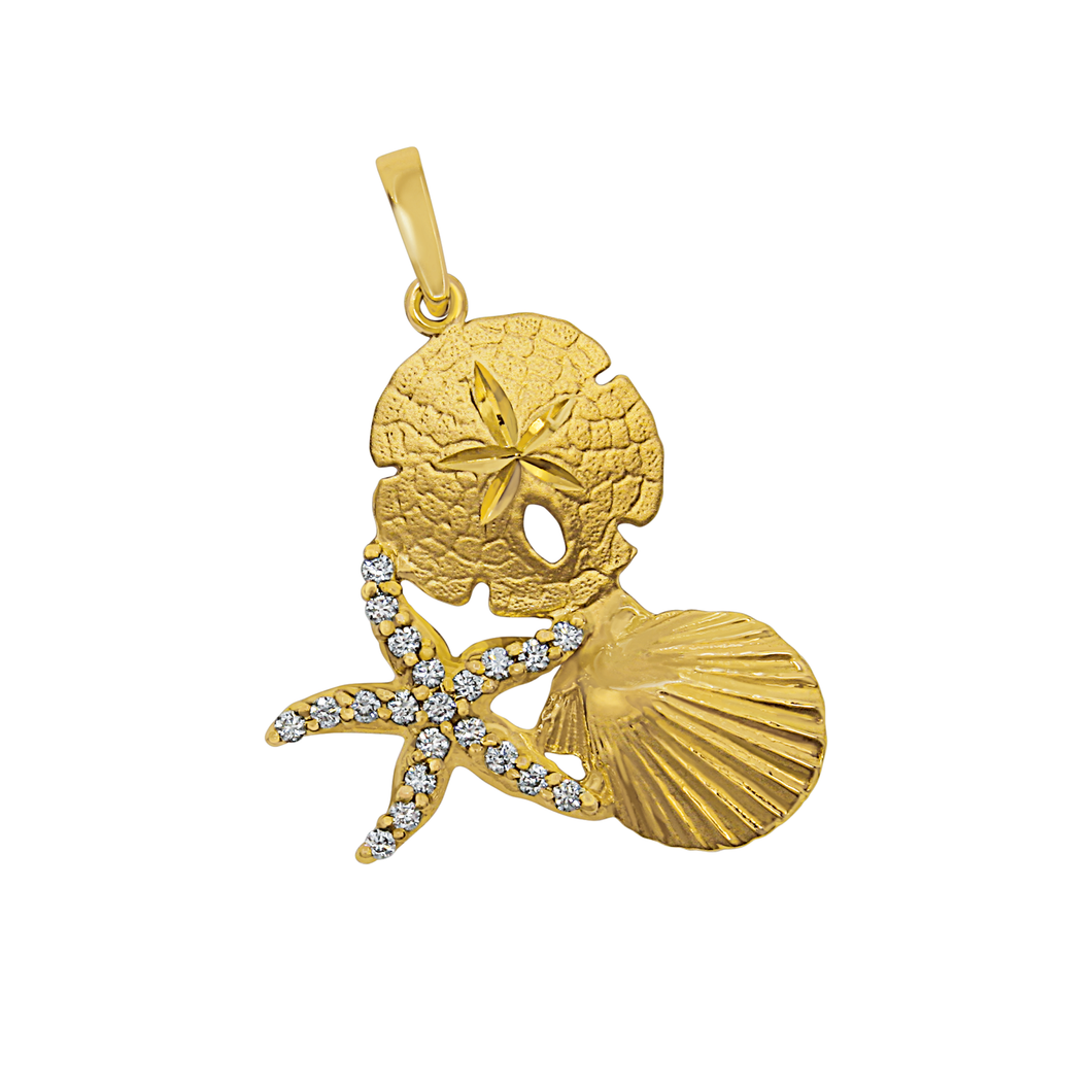 14k Yellow Gold Large Pectin, Sanddollar and Diamond Pave Starfish Pendant, D=.21tw
