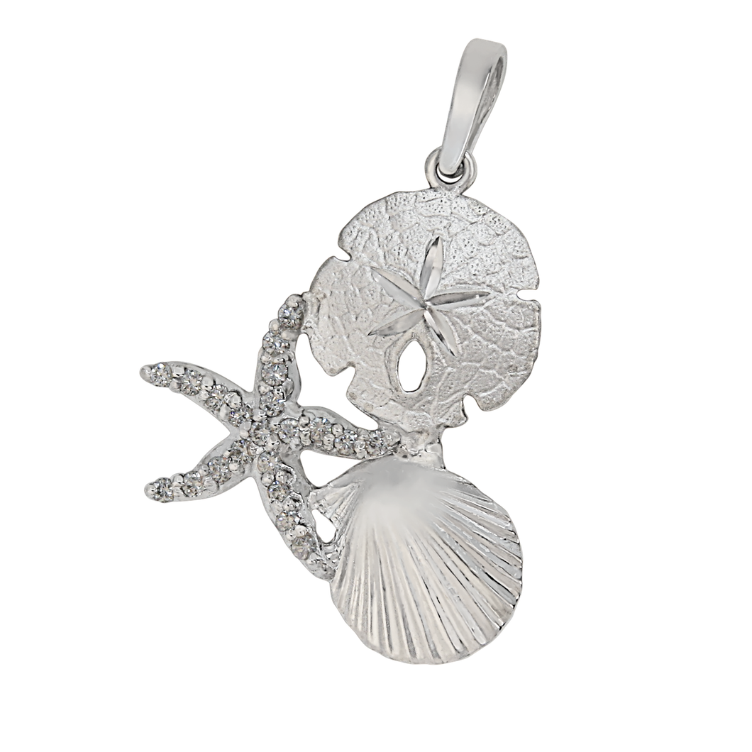 14k White Gold Large Pectin, Sanddollar and Diamond Pave Starfish Pendant, D=.21tw