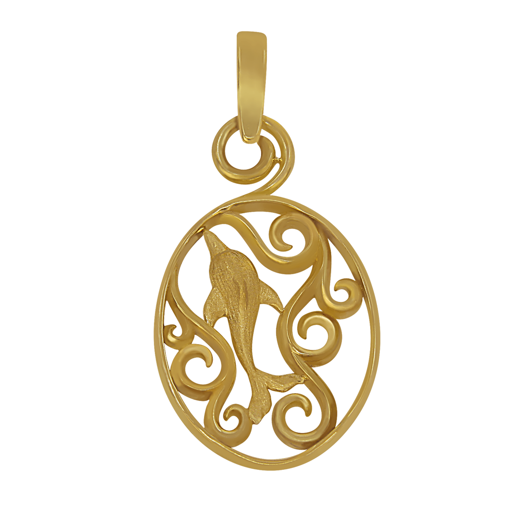 14k Yellow Gold Oval Waves with Dolphin Pendant