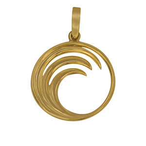 14k Yellow Gold Circle Wave Pendant