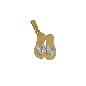 "14K White and Yellow Gold Double ""Sanibel Sandals"" with Diamonds Pendant, D=.17Ttw"