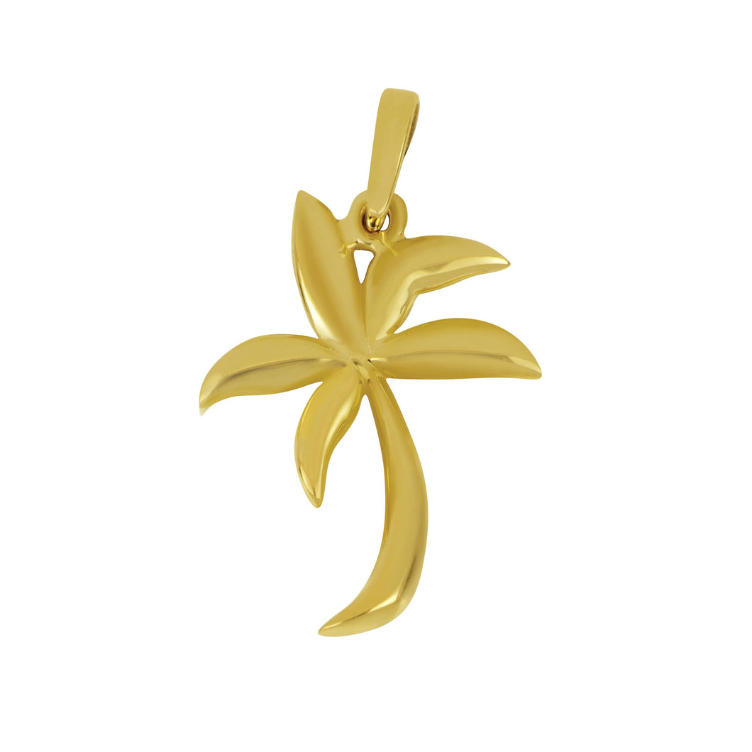 14K Yellow Gold Medium Soft Graphic Palm Tree Pendant