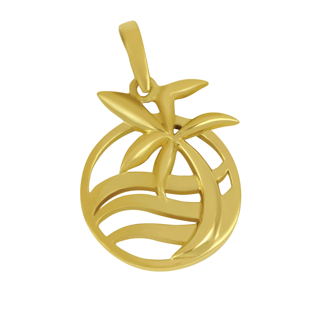 14K Yellow Gold Oval Graphic Palm Tree and Wave Pendant