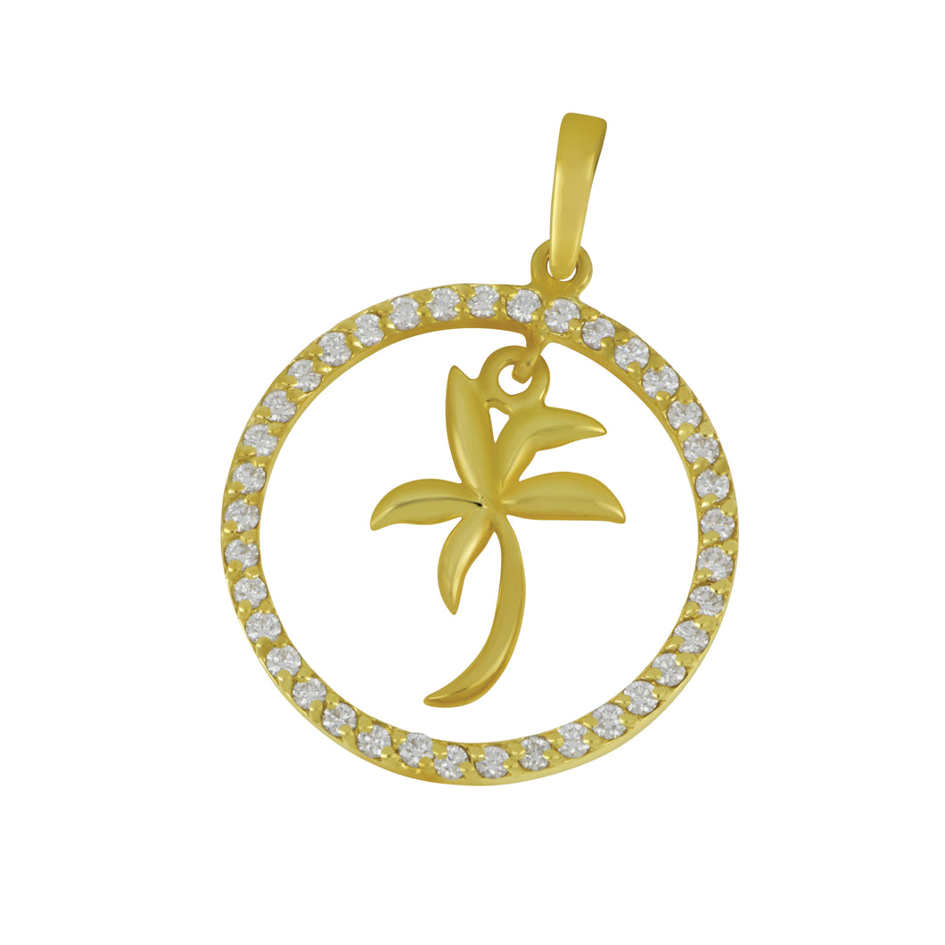 14K Yellow Gold Small Diamond Circle with Palm Tree Pendant, D=.50tw
