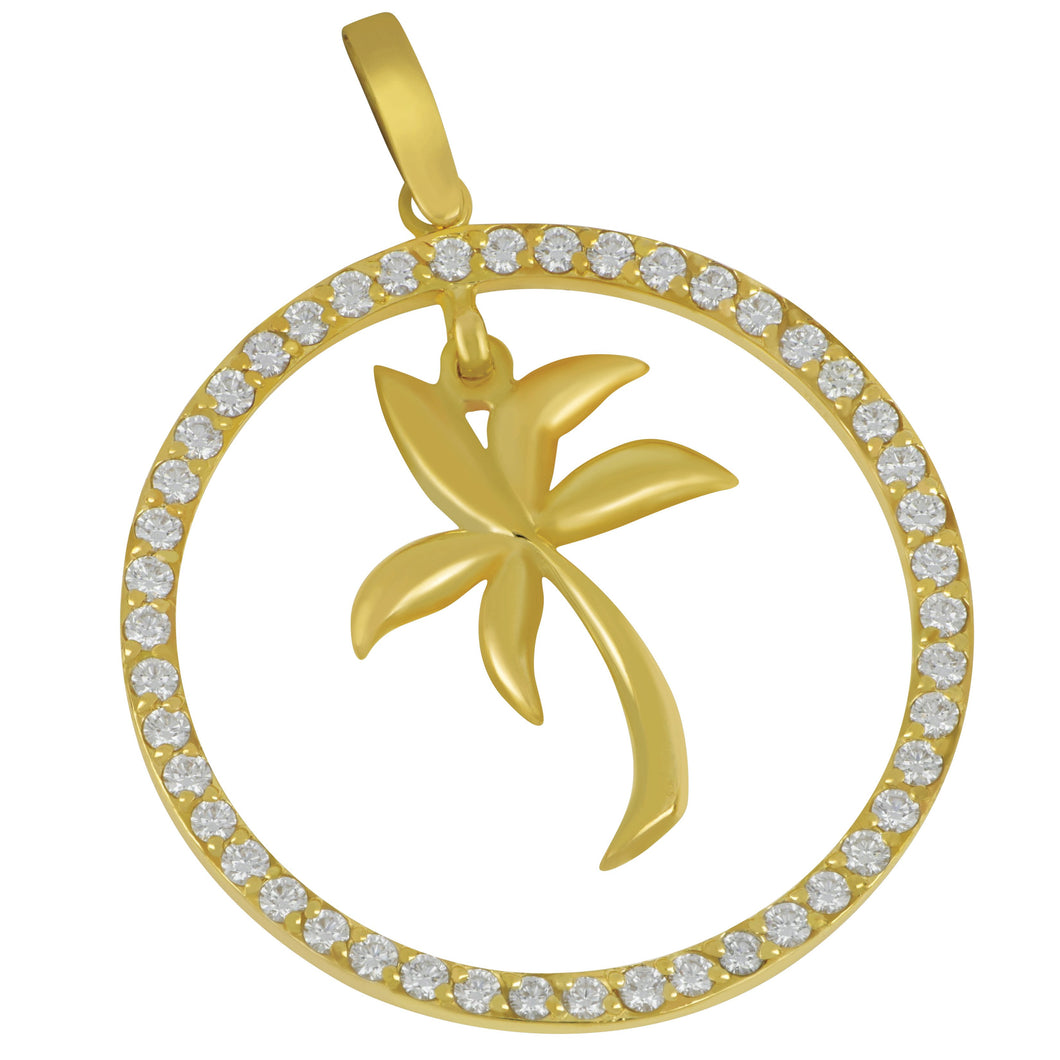 14K Yellow Gold Large Diamond Circle with Palm Tree Pendant, D=1.10tw