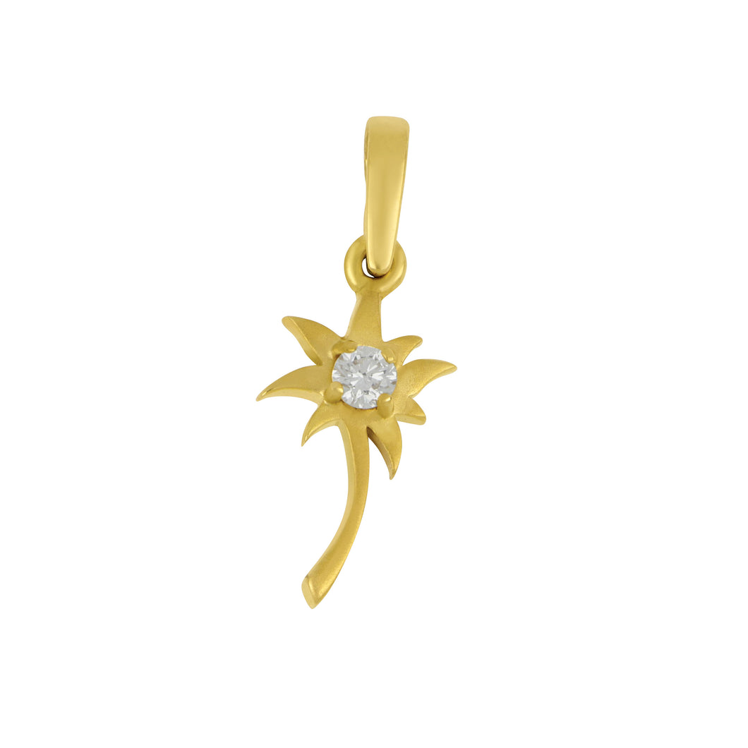 14K Yellow Gold Small Palm Tree Pendant with Diamond =.10Ct