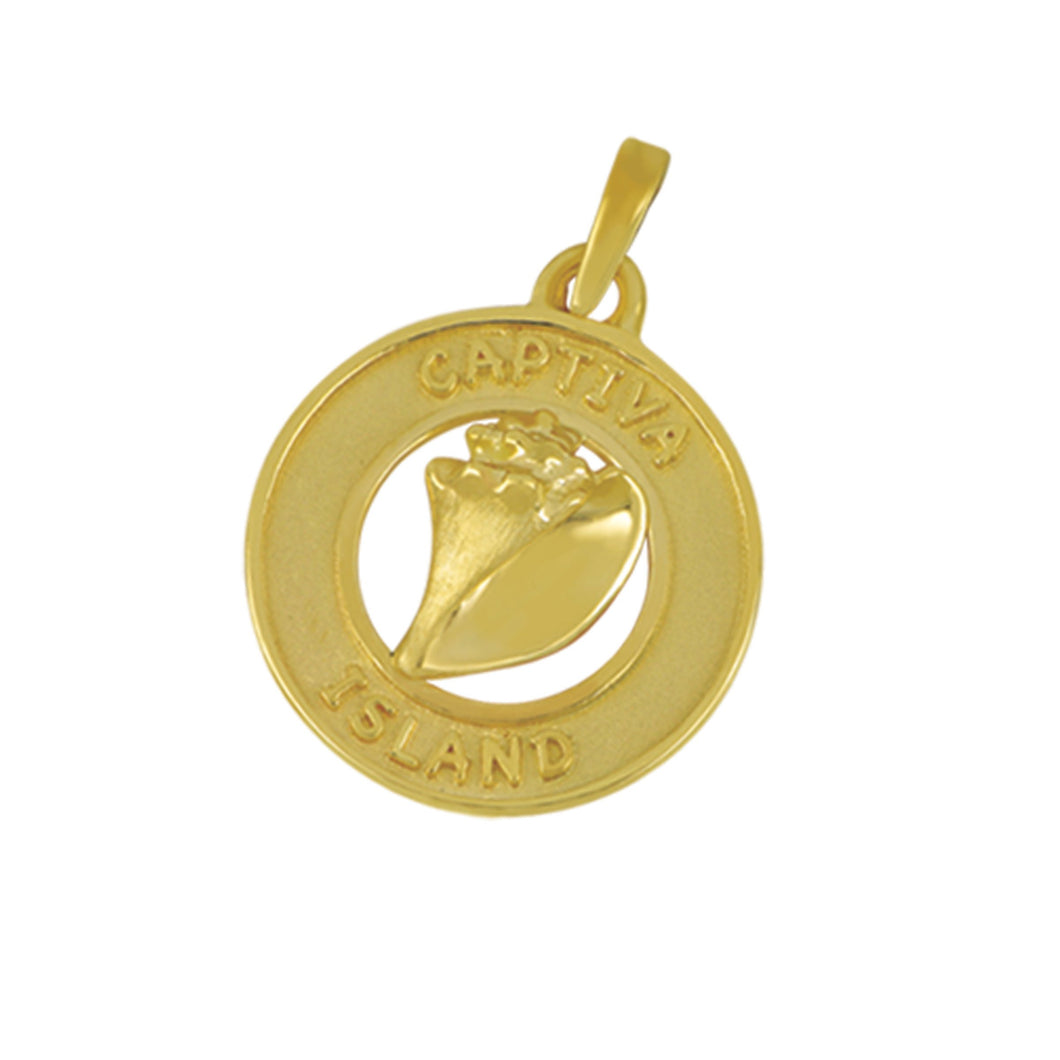 14K Yellow Gold Captiva Disc with Conch Pendant