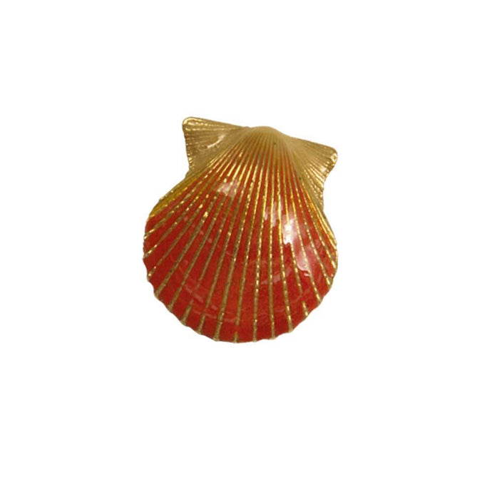 14k Yellow Gold Medium Scallop Orange Enamel Pendant
