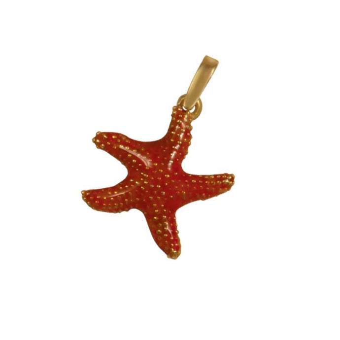 14k Yellow Gold Bumpy Starfish Orange Enamel Pendant