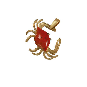 14k Yellow Gold Medium Crab Orange Enamel Pendant