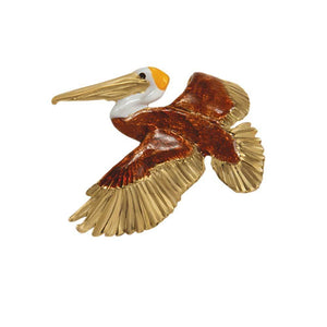 14k Yellow Gold Large Foldover Pelican Brown and White Enamel Pendant