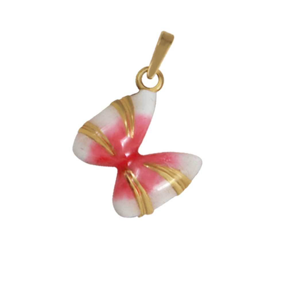 14k Yellow Gold Small Coquina Shell Pink Enamel Pendant