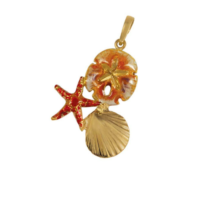 14k Yellow Gold Large Pectin, Starfish and Sanddollar Brown Enamel Pendant
