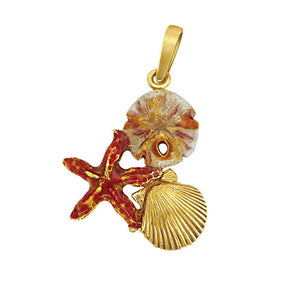 14k Yellow Gold Small Pectin, Starfish and Sanddollar Brown Enamel Pendant