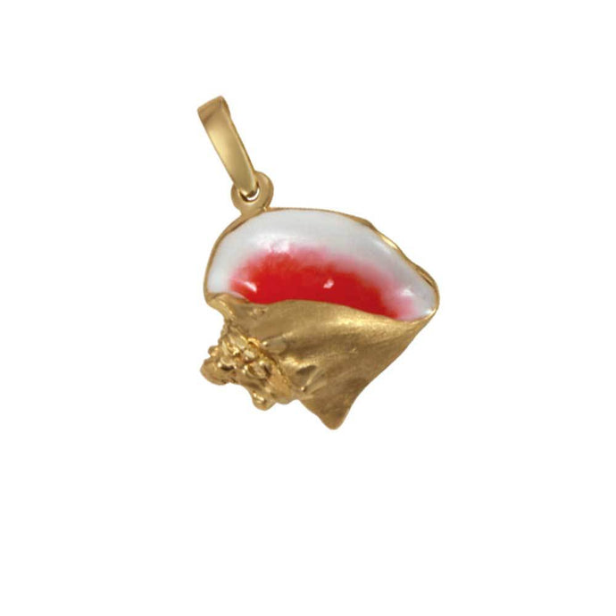 14k Yellow Gold Large Conch Pink Enamel Pendant