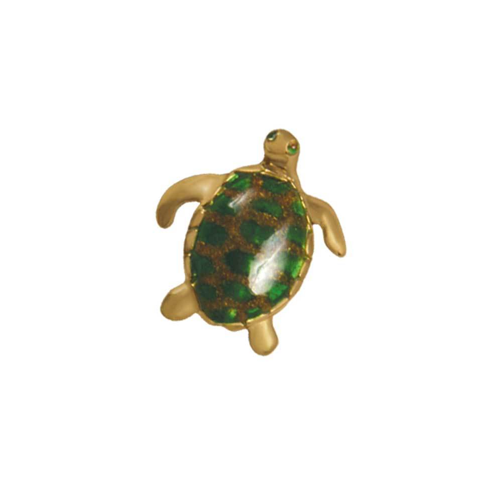14k Yellow Gold Medium Turtle Green Enamel Pendant
