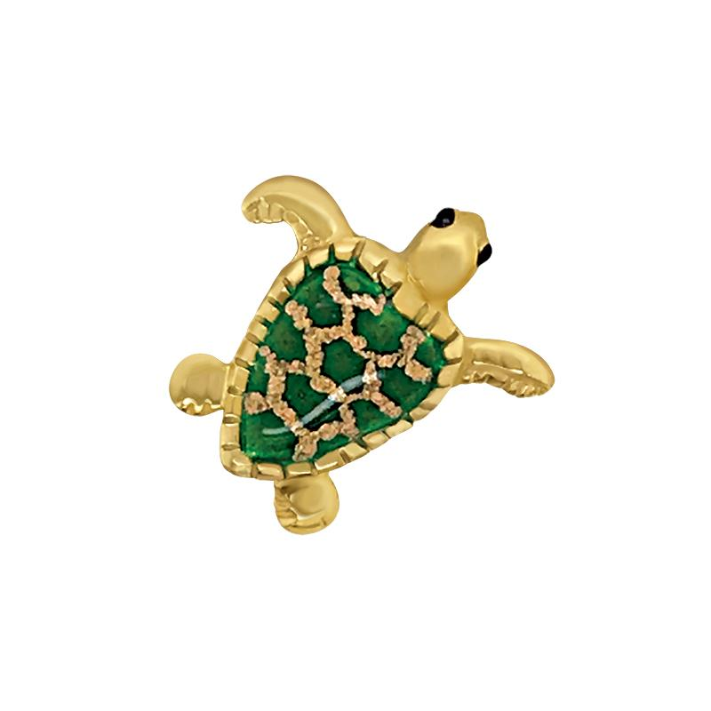 14k Yellow Gold Small Turtle Green Enamel Pendant