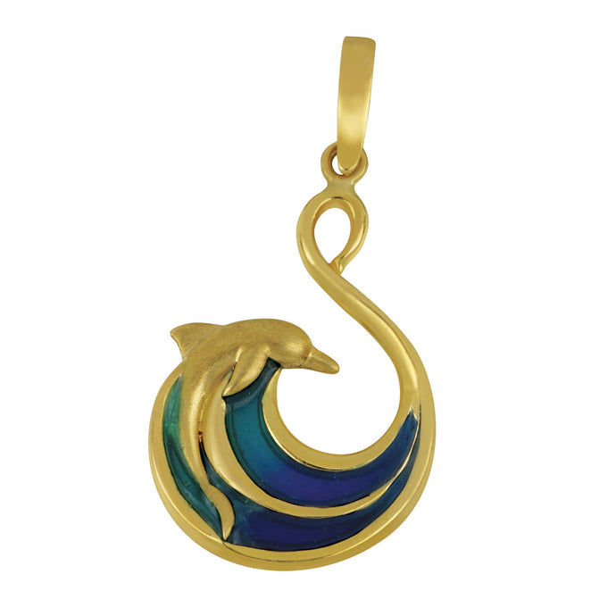 14K Yellow Gold Open Wave with Dolphin Blue Enamel Pendant