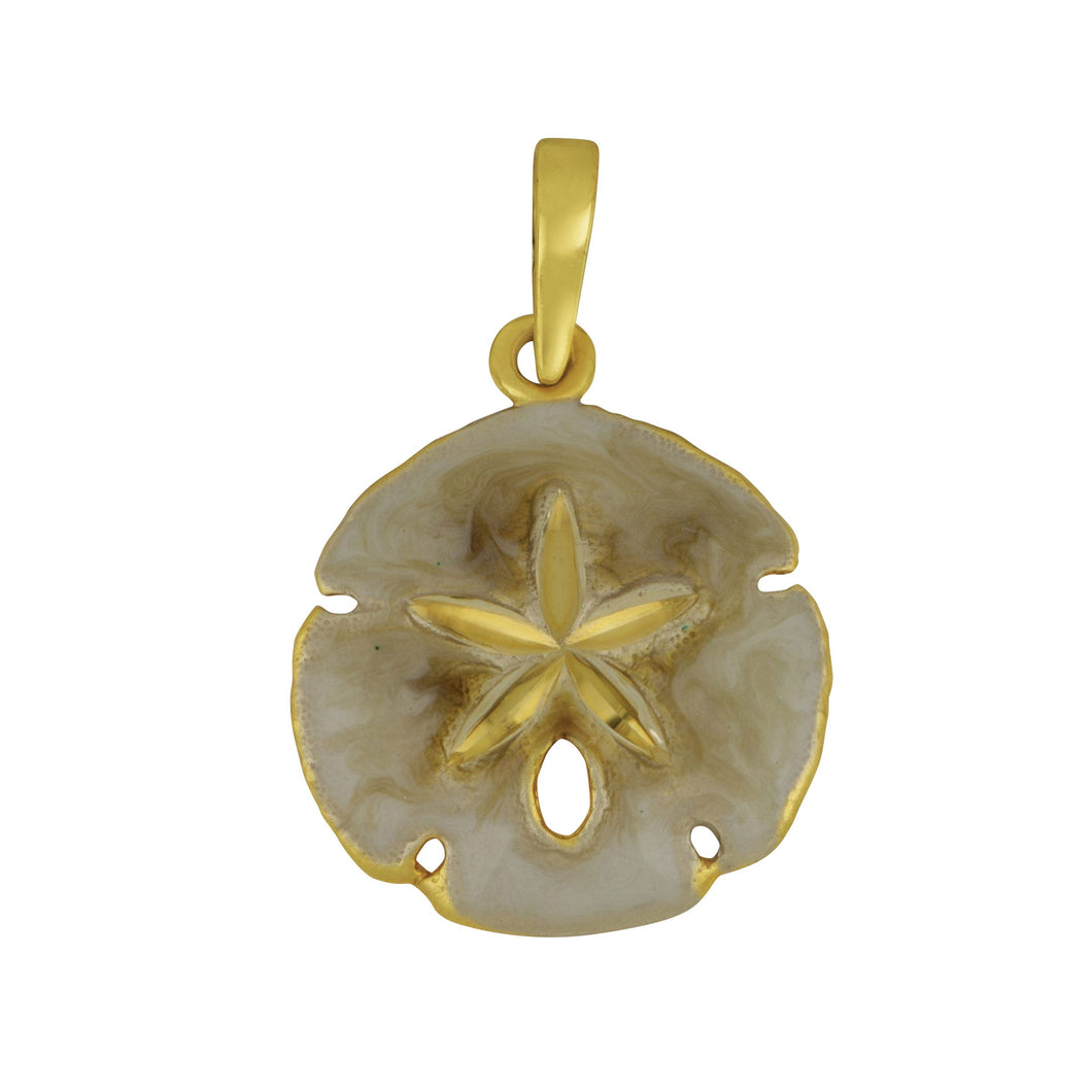 14K Yellow Gold 17mm Sanddollar Enamel Pendant
