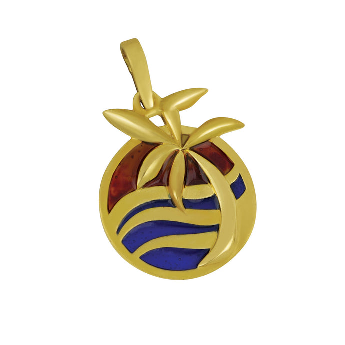 14K Yellow Gold Wave With Palm Tree Enamel Pendant