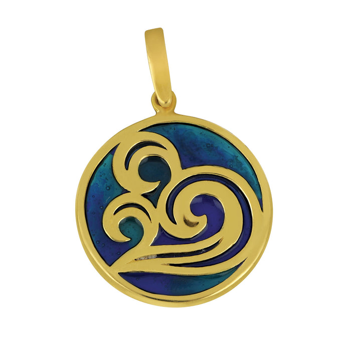 14K Yellow Gold Round Swirl Wave Blue Enamel Pendant