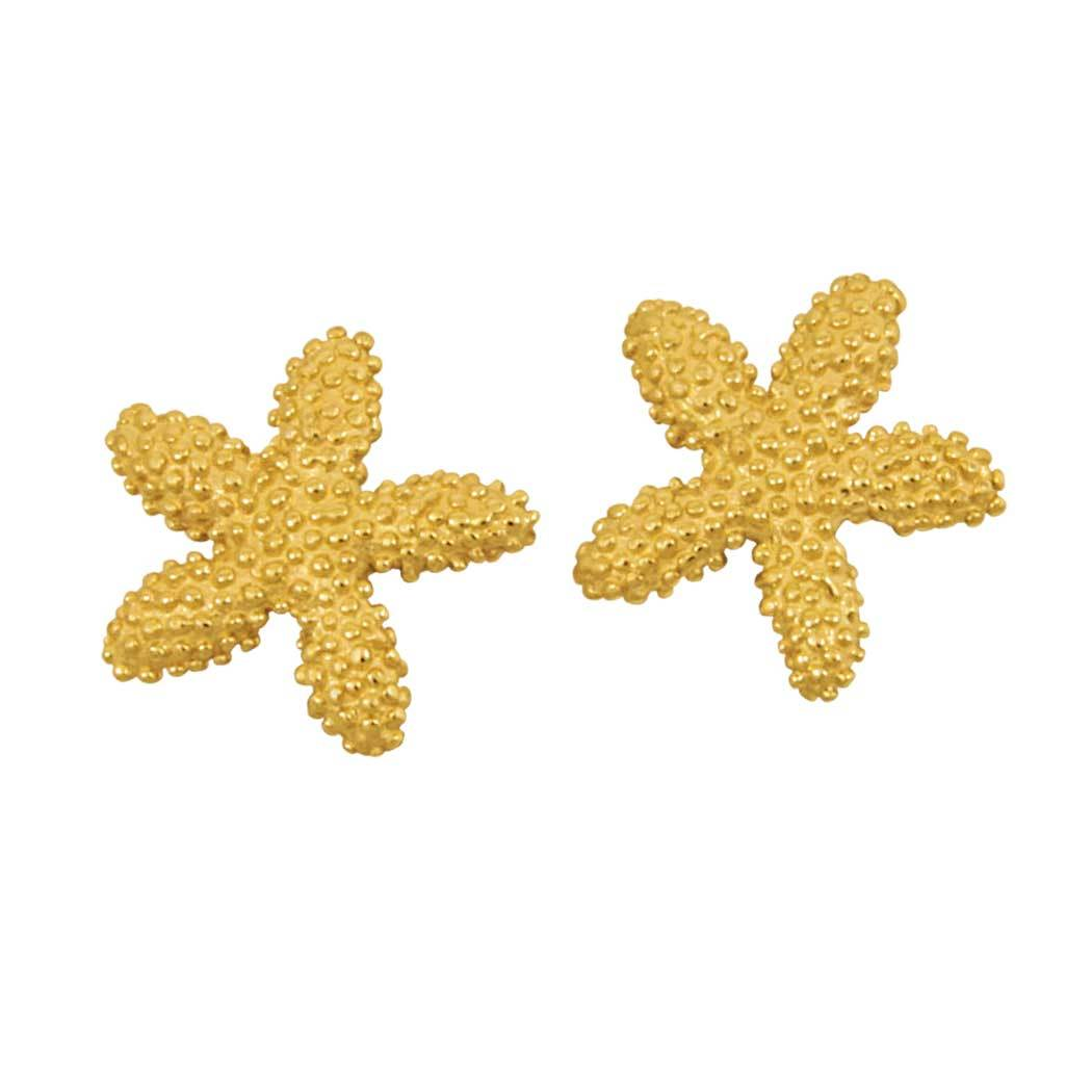 14k Yellow Gold Knobby Starfish Earrings