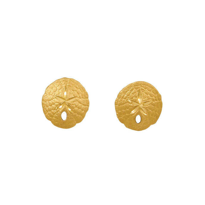 14k Yellow Gold 11mm Sanddollar Earrings