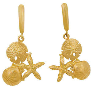 14k Yellow Gold Starfish, Sanddollar and Pectin Euro Wire Earrings