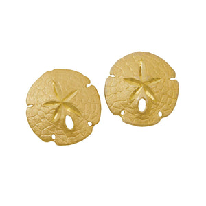 14k Yellow Gold 17mm Sanddollar Earrings