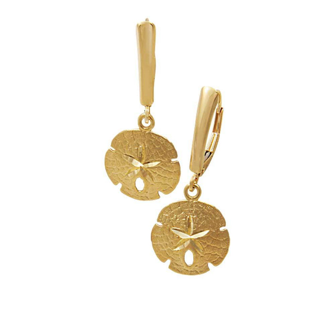 14k Yellow Gold 14mm Sanddollar Euro Wire Earrings