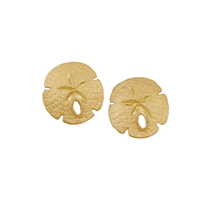 14k Yellow Gold 14mm Sanddollar Earrings