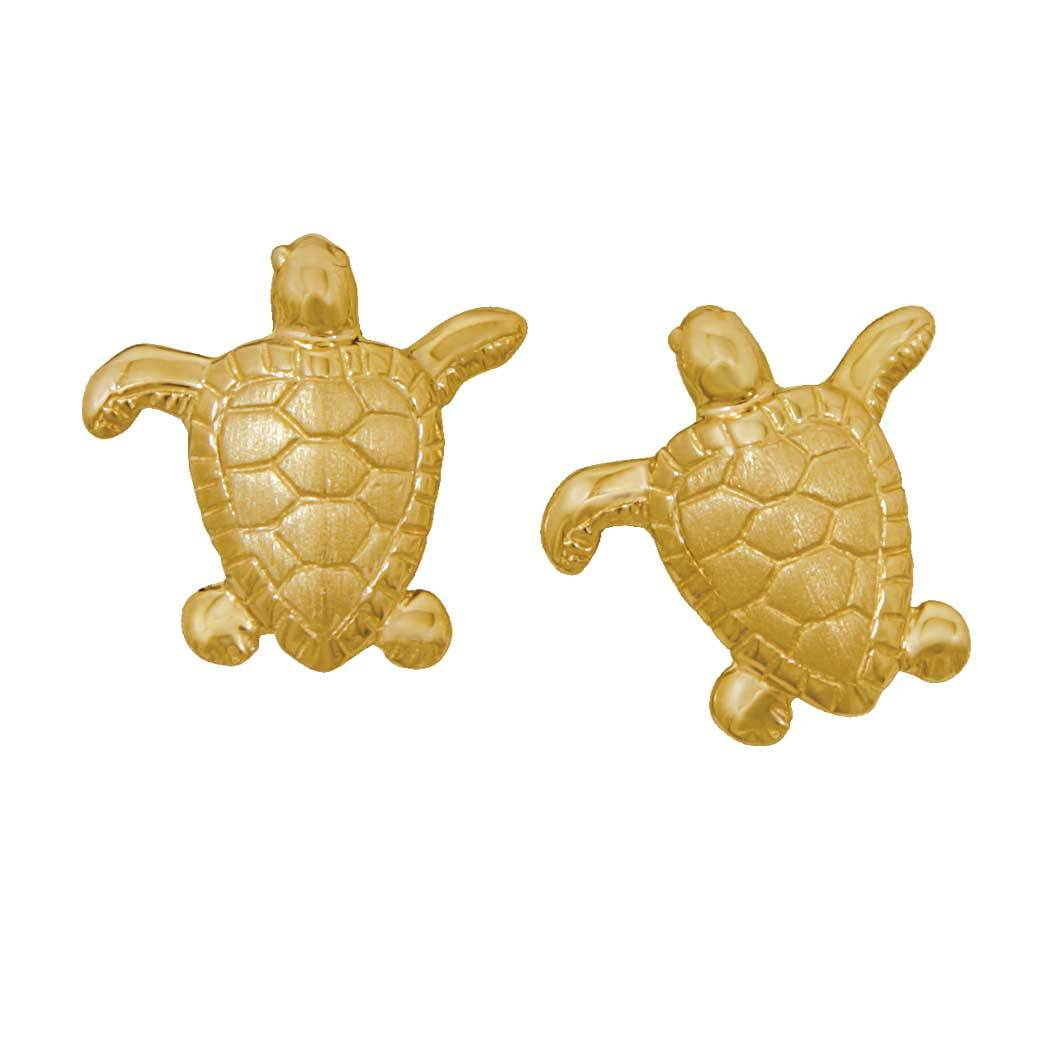14k Yellow Gold Small Turtle Earrings