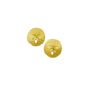 14k Yellow Gold 9mm Mini Sanddollar Earrings