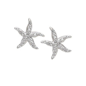 "14k White Gold ""Sea Jewels"" Diamond Pave Starfish Earrings, D=.42tw"