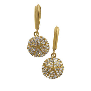 "14k Yellow Gold ""Sea Jewels"" Diamond Pave Sanddollar Euro Wire Earrings, D=.76tw"