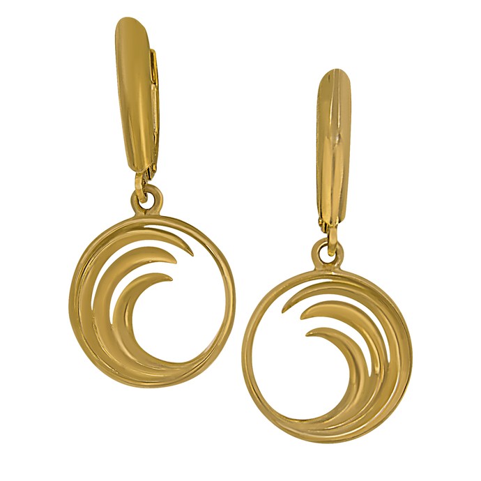 14k Yellow Gold Small Circle Wave Euro Wire Earrings