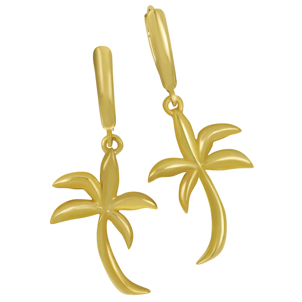 14K Yellow Gold Large Soft Graphic Palm Tree Euro Earrings